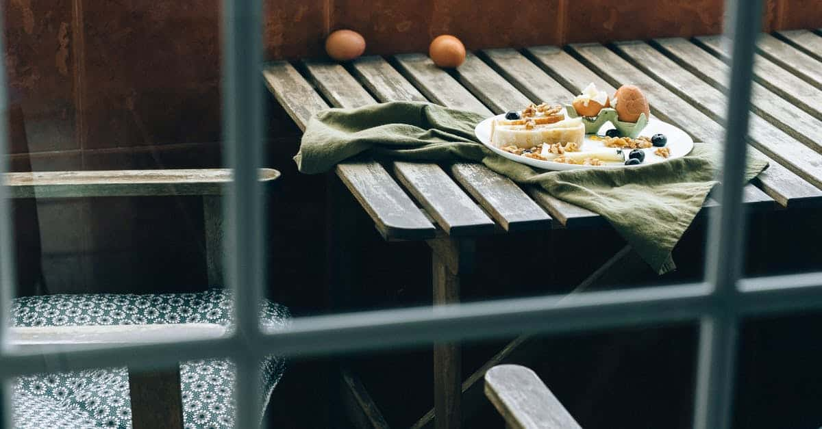 A close up of food on a wooden bench